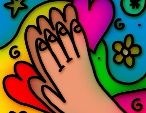 colorful prayer hands